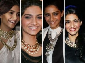 sonam_kapoor_indian_kundan_jewelry_necklace_with_western_outfits_spring_2015_trends
